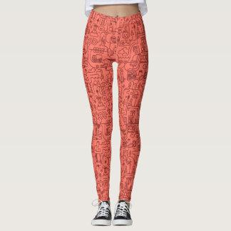 Salmon Colored Science Pattern Leggings