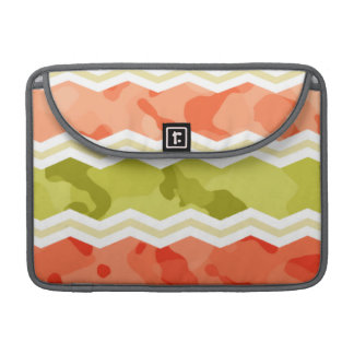 Salmon Coral Orange and Green Camo Pattern MacBook Pro Sleeves