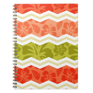 Salmon, Coral, Orange, and Green Tropical Pattern Notebook