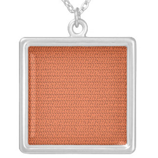 Salmon Coral Weave Mesh Look Square Pendant Necklace