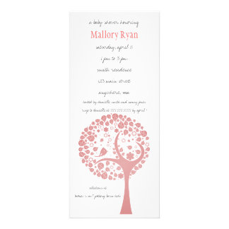 Salmon Flowering Tree Baby Shower Invitation