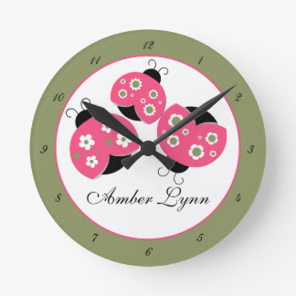 Salmon & Green Ladybugs Round Clock