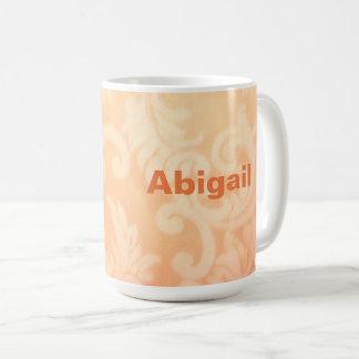 Salmon Orange Paisley Ceramic Mug, Customizable Coffee Mug