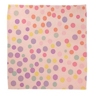 Salmon pastel pink multicolor dots head kerchiefs