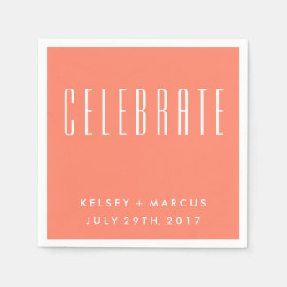 Salmon Peach Celebrate Wedding Napkins Disposable Serviette