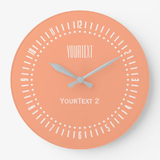 Salmon Pin Accent Color to Personalize on Wall Clock