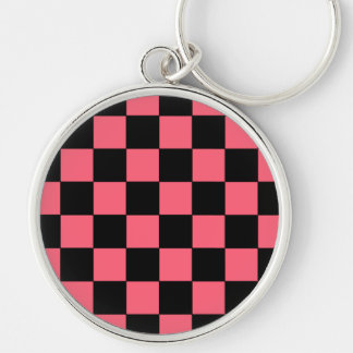 Salmon Pink and Black Squares Checkerboard Key Chain