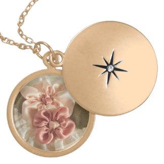 Salmon Pink And Peach Flower Round Locket Necklace