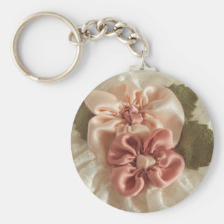 Salmon Pink And Peach Flowers Basic Round Button Key Ring
