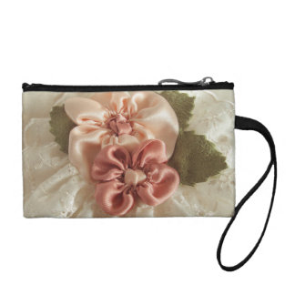 Salmon Pink And Peach Flowers Coin Purse