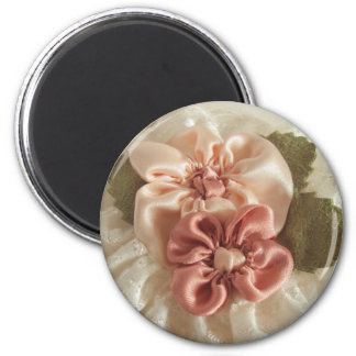 Salmon Pink and Peach Flowers Magnet