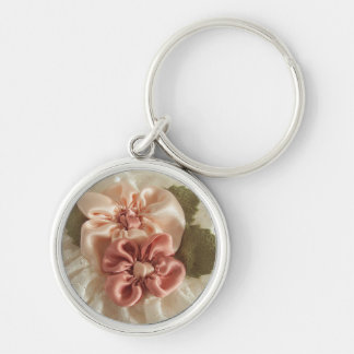 Salmon Pink And Peach Flowers Silver-Colored Round Key Ring