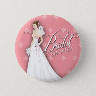 Salmon Pink and White Vintage Bridal Shower Pin