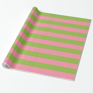 Salmon Pink Apple Green Lrg Striped Wrapping Paper