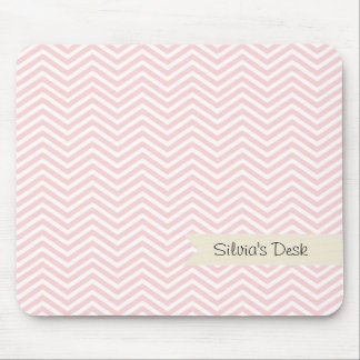 Salmon Pink Chevron Mouse Mat