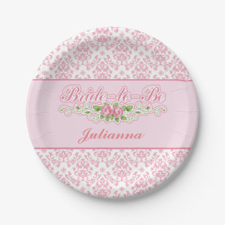Salmon Pink Damask Bridal Shower Paper Plates 7 Inch Paper Plate