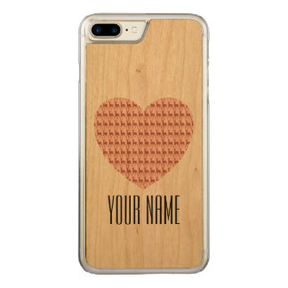 Salmon Pink Deer Heart Name Carved iPhone 8 Plus/7 Plus Case