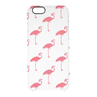 Salmon Pink Flamingo Watercolor Tropical Flamingos Clear iPhone 6/6S Case
