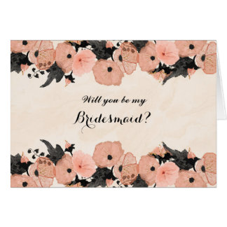 Salmon Pink Flowers Will You Be My Bridesmaid Card