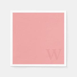 Salmon Pink Monogram Paper Napkins