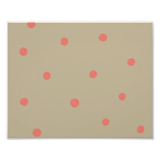 Salmon Pink Polka Dots on Beige Brown Hand Painted Photo Print