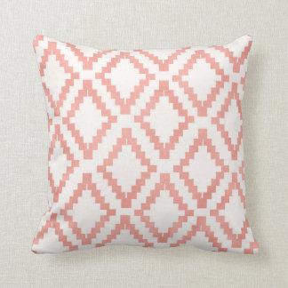 Salmon Pink Rose Gold Ethnic Blush White Cushion