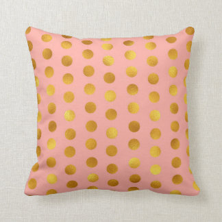 Salmon Pink Rose Gold Polka Big Dots Confetti Throw Pillow