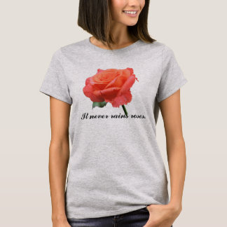Salmon Pink Rose with Raindrops T-Shirt