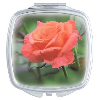 Salmon Pink Rose with Raindrops Vanity Mirror
