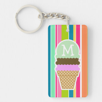 Salmon Pink & Seafoam Green; Ice Cream Cone Double-Sided Rectangular Acrylic Key Ring
