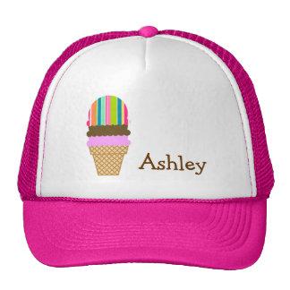 Salmon Pink Seafoam Green Ice Cream Cone Mesh Hats