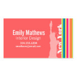 Salmon Pink & Seafoam Green; New york Business Cards