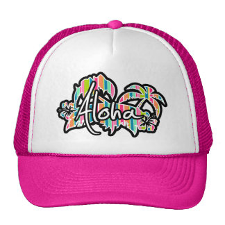 Salmon Pink & Seafoam Green Striped: Aloha Trucker Hat
