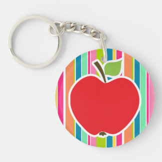 Salmon Pink & Seafoam Green Striped; Apple Double-Sided Round Acrylic Key Ring