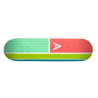 Salmon Pink Seafoam Green Striped Stripes Skate Deck