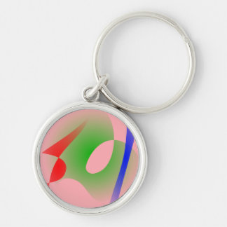 Salmon Pink Simple Abstract Art Keychain
