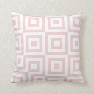 Salmon Pink & White Modern Geometric Pattern Throw Pillow