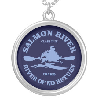 Salmon River (kayak) Silver Plated Necklace