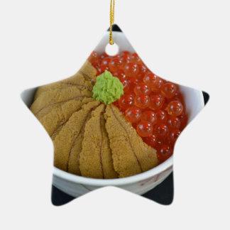 Salmon Roe Urchin Rice Bowl Japanese Food Black Ceramic Star Decoration