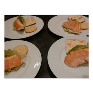 Salmon served with crackers, poster