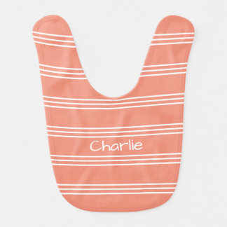 Salmon Stripes custom monogram baby bib