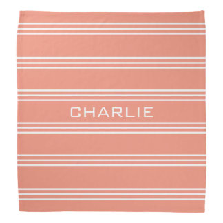 Salmon Stripes custom monogram bandana