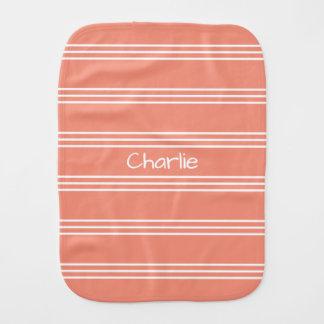 Salmon Stripes custom monogram burp cloth