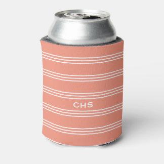 Salmon Stripes custom monogram can cooler
