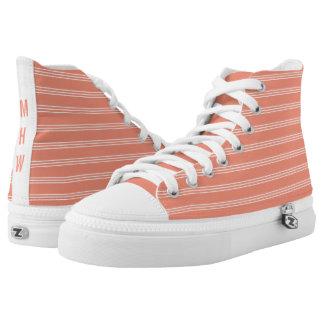 Salmon Stripes custom monogram high top shoes Printed Shoes