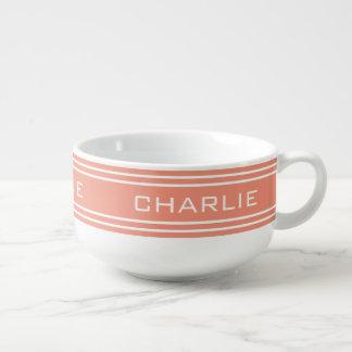Salmon Stripes custom monogram soup mug