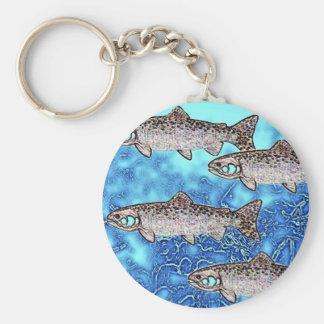 Salmon Swimming Key Chain