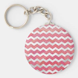 Salmon Swirl Chevron Pattern Basic Round Button Key Ring