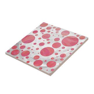 Salmon Swirl Dot Pattern Small Square Tile