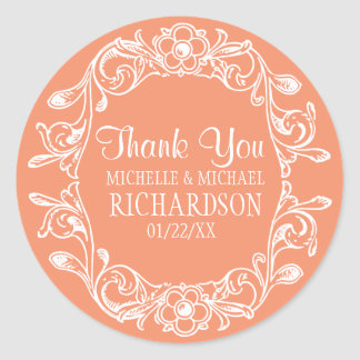 Salmon Vintage Floral Wreath Wedding Favor Round Sticker